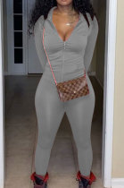 Gray Euramerican Women Trendy Solid Color Zipper Long Sleeve Tight Pants Sets MF5193-5