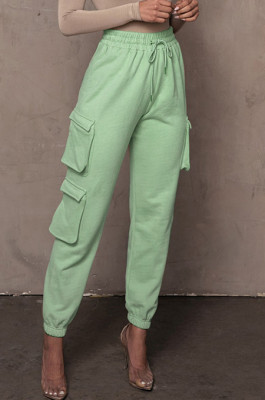 Light Green Casual Pure Color With Pocket Drawsting Ankle Banded Pants H1653-4