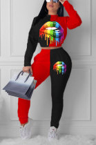 Red Euramerican Trendy Casual Color Matching Digital Printing Lips Long Sleeve Round Collar Pants Sets MDF5093-1