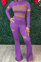 Purple Wholesal Spliced Long Sleeve Round Collar Crop Top Hollow Out High Waist Ruffle Flared Pants Two-Piece LM88805-1