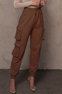 Brown Casual Pure Color With Pocket Drawsting Ankle Banded Pants H1653-1