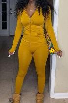 Yellow Euramerican Women Trendy Solid Color Zipper Long Sleeve Tight Pants Sets MF5193-1