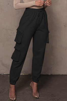Black Casual Pure Color With Pocket Drawsting Ankle Banded Pants H1653-5