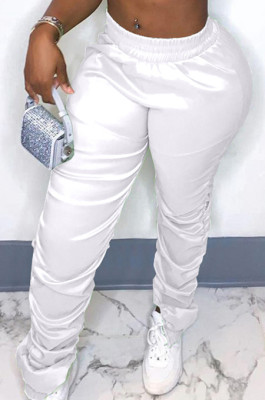 White Modest Cotton Blend Ruffle Slit Solid Colof Tapered Pants BBN190-1