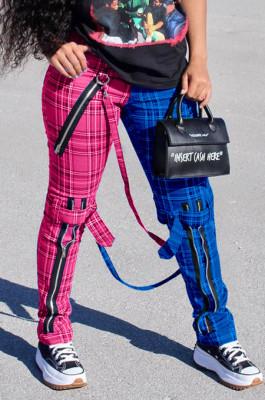 Plaid Zipper Hang Bags Pants Casual Long Pants HY5201