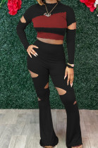 Black Wholesal Spliced Long Sleeve Round Collar Crop Top Hollow Out High Waist Ruffle Flared Pants Two-Piece LM88805-3