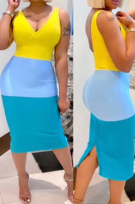 Yellow New Summer Contarst Color Spliced Sleeveless V Collar Backless Bodycon Midi Dress YNS16803-2