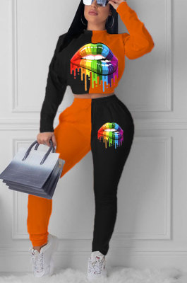 Orange Euramerican Trendy Casual Color Matching Digital Printing Lips Long Sleeve Round Collar Pants Sets MDF5093-3