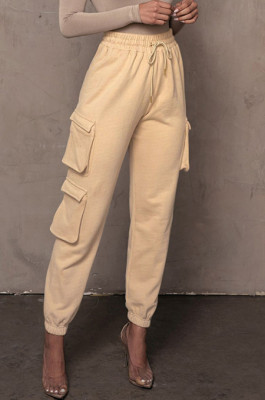 Cream White Casual Pure Color With Pocket Drawsting Ankle Banded Pants H1653-2