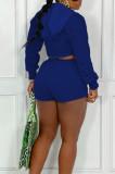 Light Gray Casual Pure Color Zipper Long Sleeve Hoodie Coat Shorts Sport Sets CYY00023-2