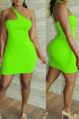 Neon Green Summer Simple Oblique Shoulder Sexy Solid Color Tight Mini Hip Dress YNS16809-2