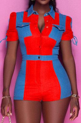 Red Wholesal Spliced Short Sleeve Lapel Neck With Pocket Jean Legging Slim Fitting Romper Shorts BAK0713-2
