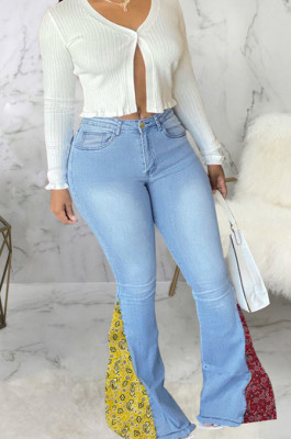 Light Blue Fashion Spliced Water Washing High Waist Elastic Slim Fitting Jean Flared Pants SMR2395-3
