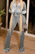 Gray Women Korea Velvet Long Sleeve Zipper Spliced Sport Pants Sets NK263-6