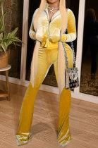 Yellow Women Korea Velvet Long Sleeve Zipper Spliced Sport Pants Sets NK263-4