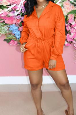 Orange Autumn And Winter Pure Color Long Sleeve Lapel Collar Collcet Waist Elestic Drawsting Romper Shorts H1687-2