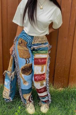 Blue Fashion Loose Colorful Cute Patterns Printing Tassel Pants NYZ6031-2