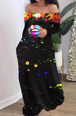 Wholesal New Lips Printing Long Sleeve A Word Shoulder Loose Collcet Waist Long Dress H1688