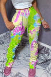 Green Women Shirred Detail Tight Mid Waist Long Pants NK105-3