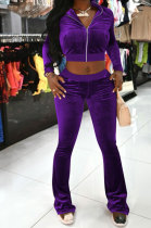 Purple Women Korea Velvet Long Sleeve Zipper Spliced Sport Pants Sets NK263-5