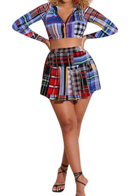 Colorful Plaid Printing Long Sleeve Stand Neck Zippet Crop Top Ruffle Peleated Skirts Casaul Sets F88383