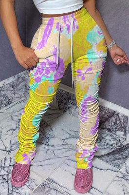 Yellow Women Shirred Detail Tight Mid Waist Long Pants NK105-2