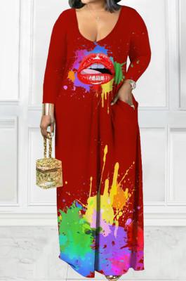 Wine Red Casual Splash-InkLips Printing Long Sleeve V Neck Loose Collcet Waist Long Dress MTY6573-3
