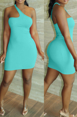 Blue Summer Simple Oblique Shoulder Sexy Solid Color Tight Mini Hip Dress YNS16809-3