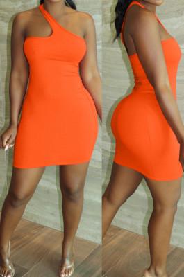 Orange Summer Simple Oblique Shoulder Sexy Solid Color Tight Mini Hip Dress YNS16809-1