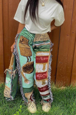 Green Fashion Loose Colorful Cute Patterns Printing Tassel Pants NYZ6031-1
