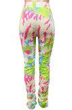 Colorful Women Shirred Detail Tight Mid Waist Long Pants NK105-1