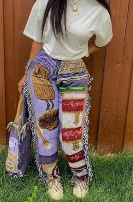 Purple Fashion Loose Colorful Cute Patterns Printing Tassel Pants NYZ6031-3