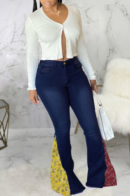 Drak Blue Fashion Spliced Water Washing High Waist Elastic Slim Fitting Jean Flared Pants SMR2395-2