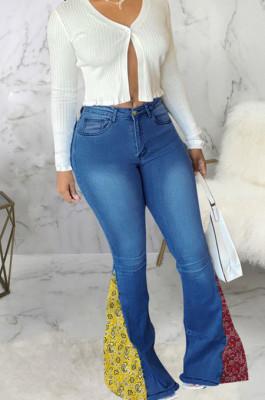 Blue Fashion Spliced Water Washing High Waist Elastic Slim Fitting Jean Flared Pants SMR2395-1
