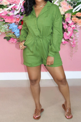 Green Autumn And Winter Pure Color Long Sleeve Lapel Collar Collcet Waist Elestic Drawsting Romper Shorts H1687-5