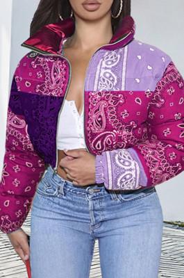 Thicken Casual Paisley Print Puffer Bandana Jacket Winter Coat for Women Warm Fashion Clothing Streetwear Crop Parka Puffer Bubble Coat