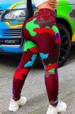 Blue Women Camo Printing Bodycon Mid Waist Long Pants NK0100-1