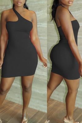 Black Summer Simple Oblique Shoulder Sexy Solid Color Tight Mini Hip Dress YNS16809-4
