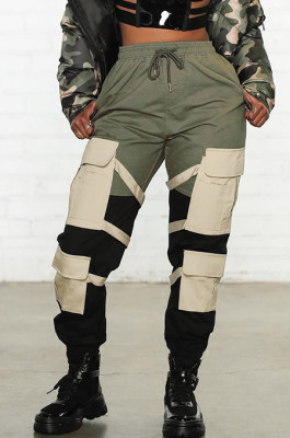 Constrast Color Waistband Pants with Patch Pocket HY5134