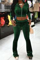 Dark Green Women Korea Velvet Long Sleeve Zipper Spliced Sport Pants Sets NK263-8