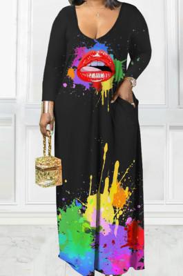Black Casual Splash-InkLips Printing Long Sleeve V Neck Loose Collcet Waist Long Dress MTY6573-2