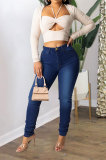 Light Blue Women Euramerican Trendy Sexy Bandage Solid Color High Waist Jeans Pants WE9599-4