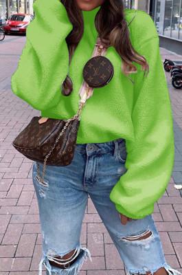 Apple Green Casual Wholesal Velvet Long Sleeve O Neck Solid Color Blouse BM7039-3