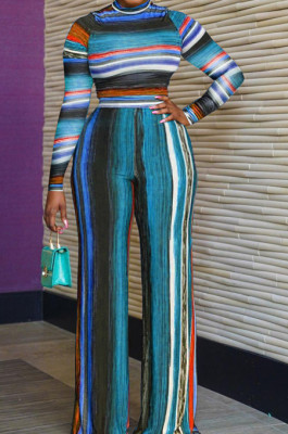Blue New Colorful Stripe Printing Long Sleeve High Neck Crop Top High Waist Wide Leg Pants Two-Piece AMX6053-2