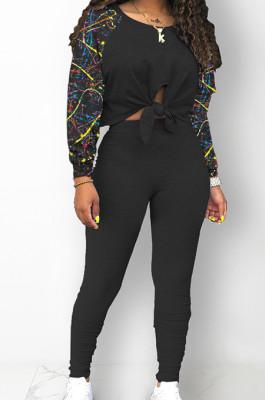 Black Cotton Blend Splash-Ink Spliced Long Sleeve Round Neck Blouse Tight Pencil Pants Casual Sets BM7217-3