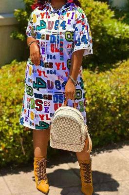 White Euramerican Women Fashion Letters Number Printing Hoodies Mid Waist Plus Mini Dress KKY8037-1