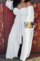 White Women New Casual Solid Color Off Shoulder Sexy Loose Plus Jumpsuit MF6637-2