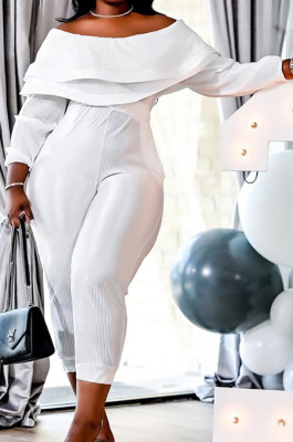White Big Yards Ruffle A Wrod Shoulder Long Sleeve With Pocket Pure Color Slim Fitting Jumpsuits QSS51039-4