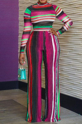 Rose Red New Colorful Stripe Printing Long Sleeve High Neck Crop Top High Waist Wide Leg Pants Two-Piece AMX6053-1