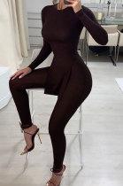 Black Women Ribber Solid Color Blouse Split Long Pants Fashion Casual Two-Pieces LJ134791-3